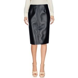 Prada dark olive leather pencil skirt size 44